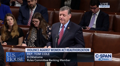Rep. Cole Supports Violence Against Women Act