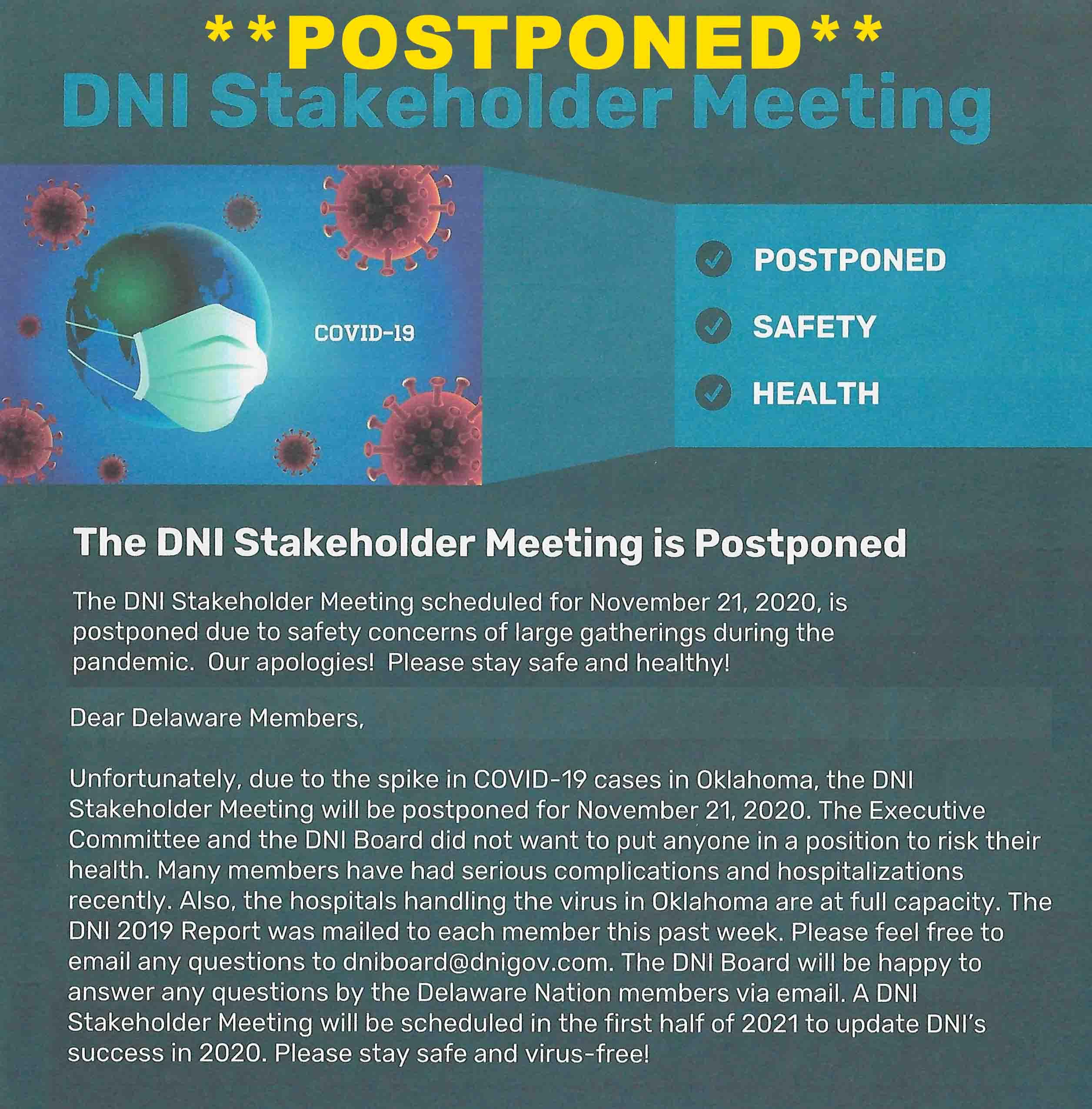 DNI Stakeholder Meeting is Postponed