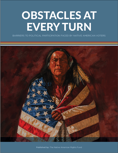 image of the cover of the report. Native American man wrapped in US flag